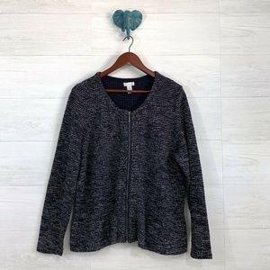 Chicos 3/Large Navy Blue Boucle Knit Zip Jacket